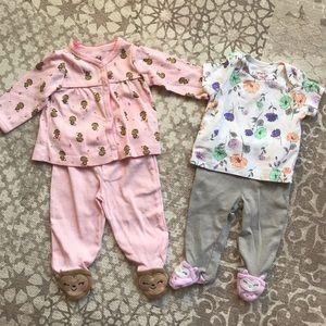 4/$20 - Carter's & Child of Mine NB Pajamas Set